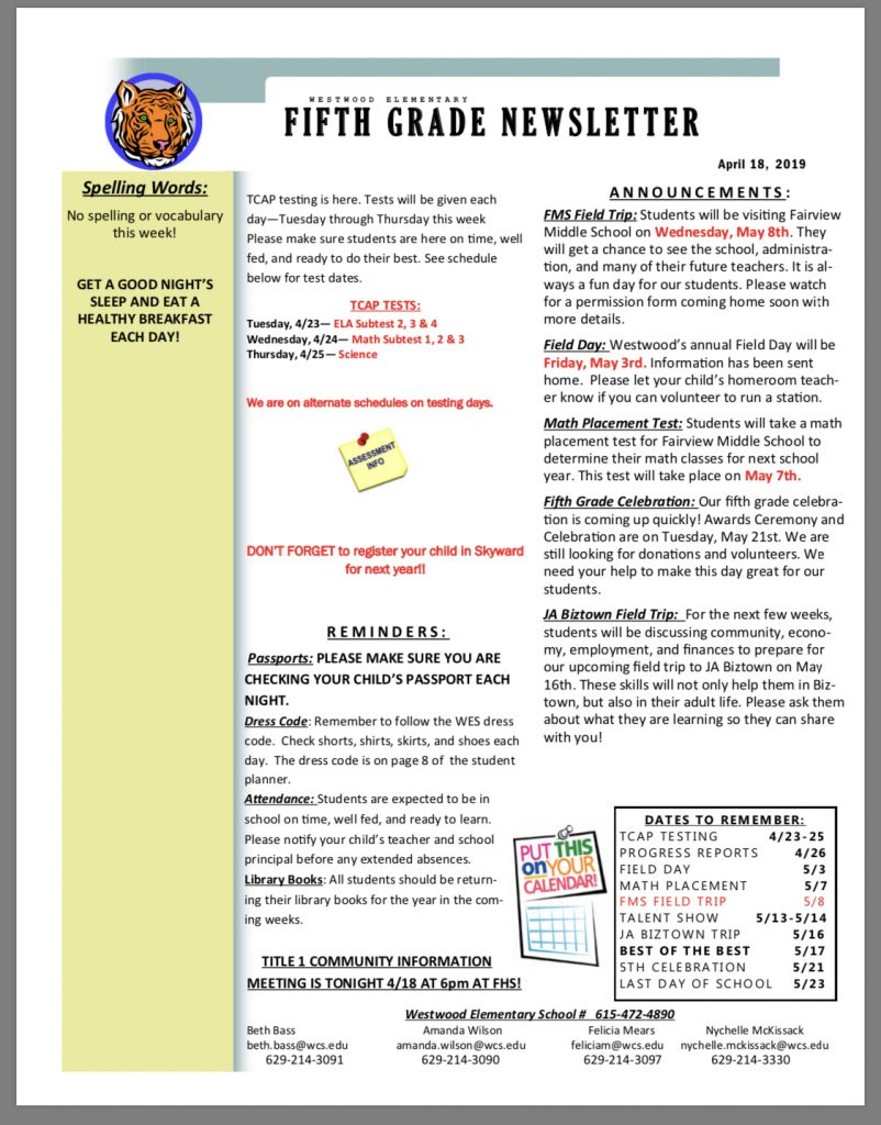 Grade 5 newsletter: paper copy available in office