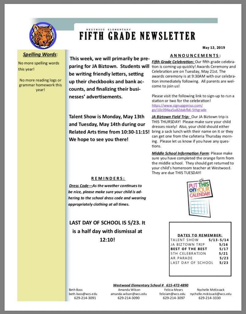 Grade 5 newsletter paper copy in office