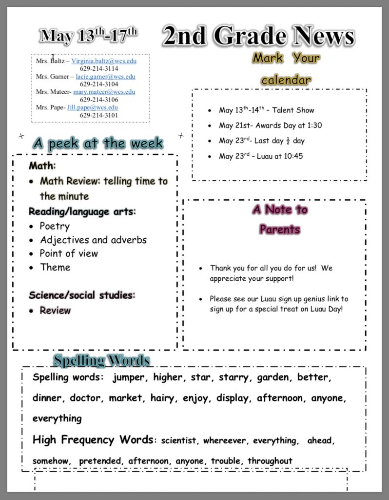 Grade 2 newsletter paper copy in office