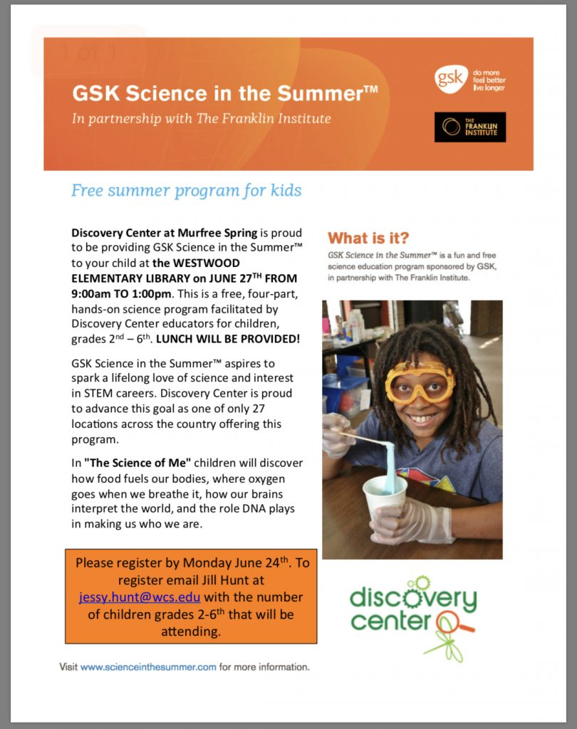Discovery Center flyer- contact office for paper copy