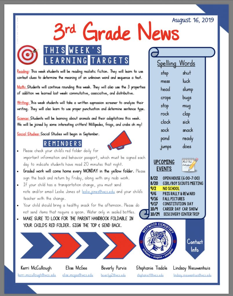 Third grade newsletter: paper copy in office