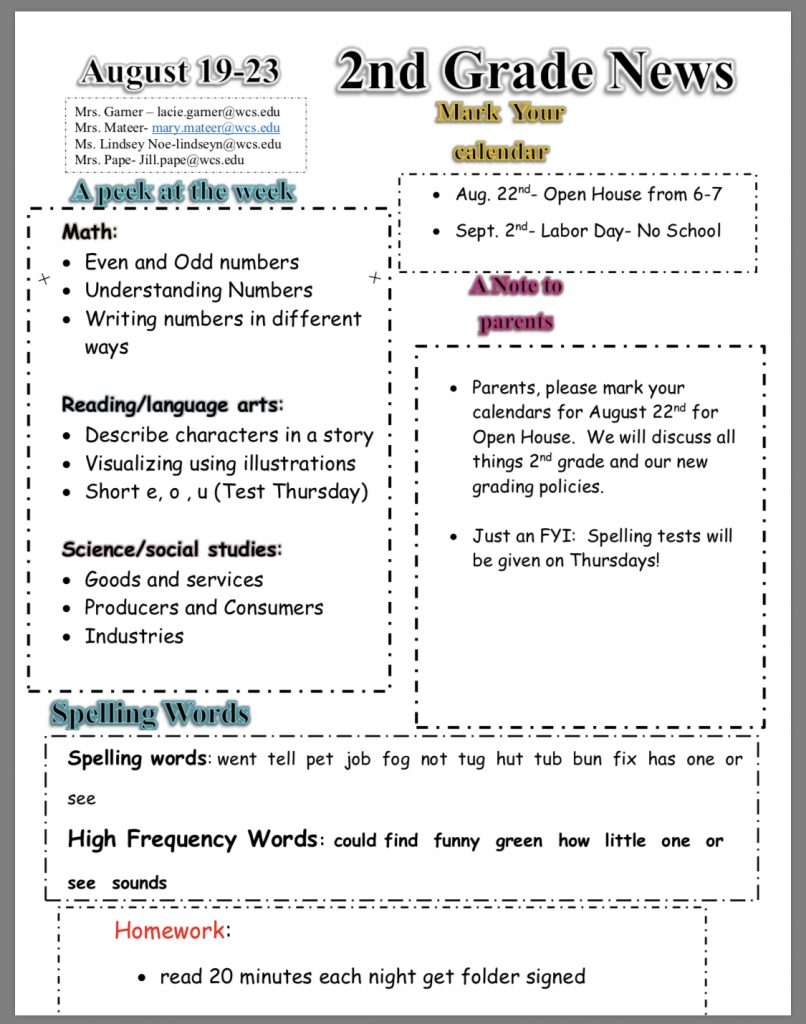 Second grade newsletter: paper copy in office