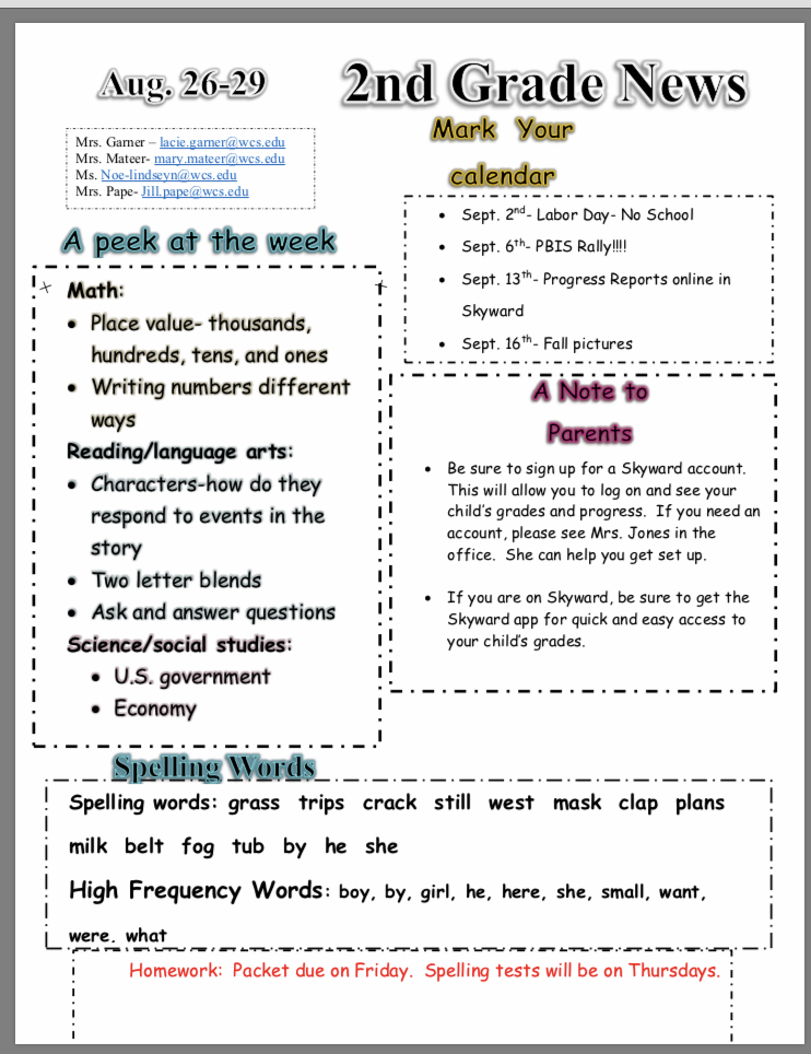 Classroom Newsletter: paper copy available in the office