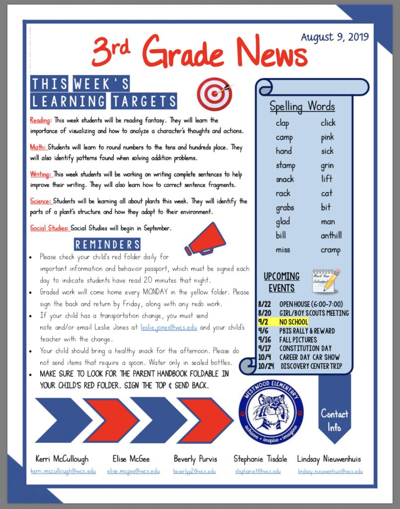 Third grade newsletter paper copy available in office