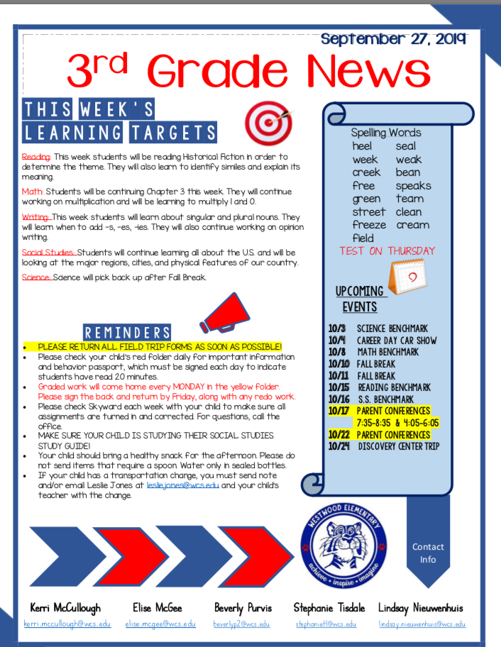 Classroom newsletter: paper copy available in office