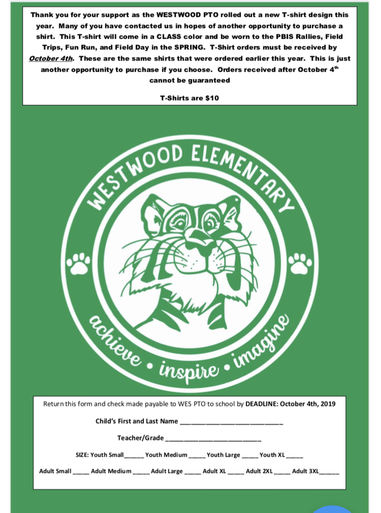 Westwood Tshirt Order Form: paper copy available in office