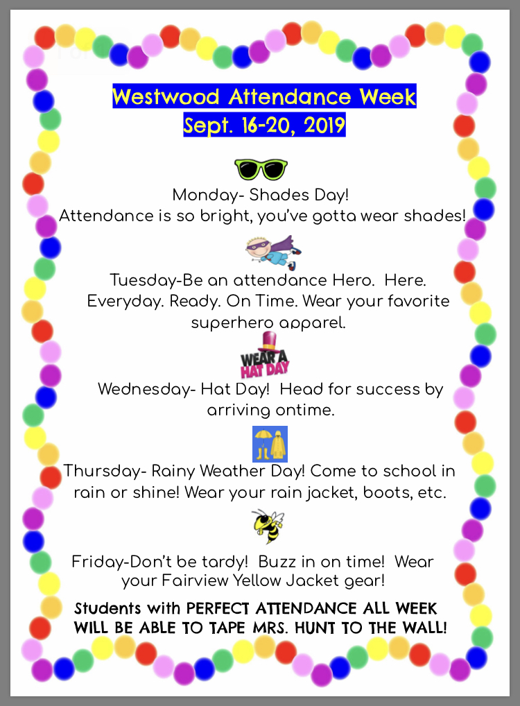 Attendance week flyer: paper copy available in office