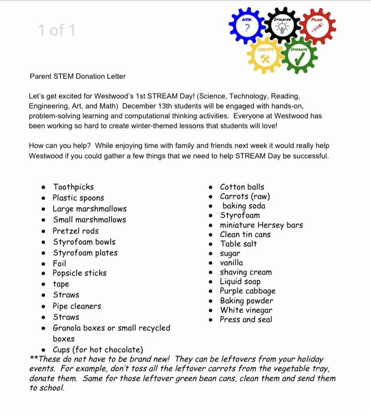 STEM Day Flyer: paper copy available in office